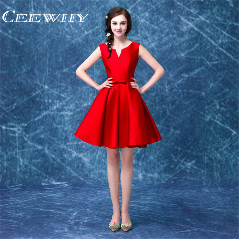 CEEWHY Red Taffeta Sleeveless A-Line Women Formal Gowns Short Party Dresses Above Knee Cocktail Dresses Homecoming Dresses