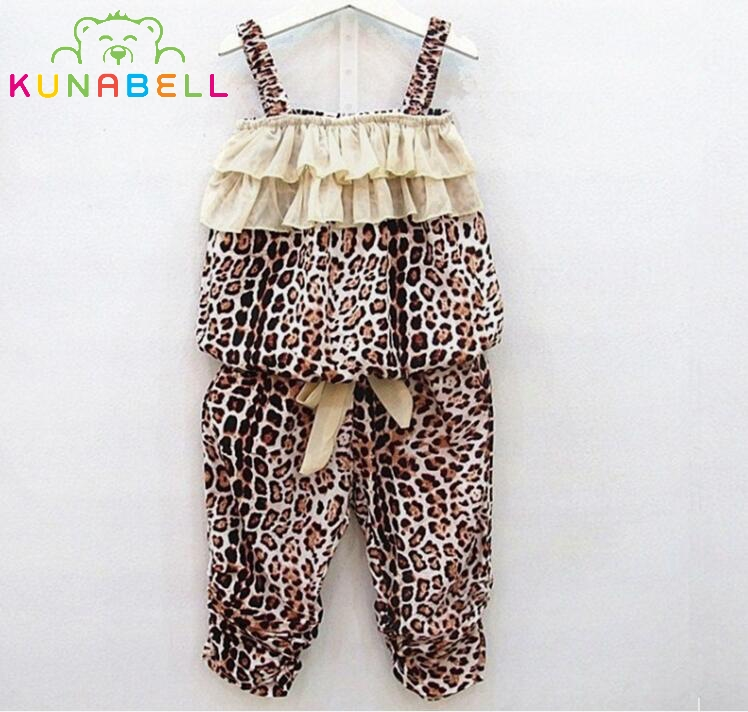 New Arrival Summer Suit for Girls Childrens Clothing Chiffon Leopard Camisole Menina Clothing Sets Baby Clothe Pullover L214<br><br>Aliexpress