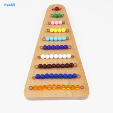 Baby Toy Montessori Colored Bead Stairs with Tray Math Early Childhood Education Preschool Training Learning Toys