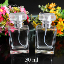 Wholesale and Retail 30ml Perfume Cap Clear Glass Spray Refillable Perfume Bottles Glass Automizer Empty Cosmetic Container
