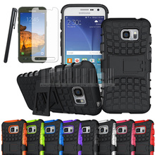 Free shipping,Phone Case For Samsung Galaxy S7 Active G891 Mix Color Heavy Duty Armor Hard Kickstand Case With Film+Stylus Skin(China)