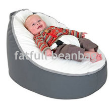 COVER ONLY, NO FILLINGS - Grey with cream seat baby bean bag chair, infant beanbag sofa bedding seat