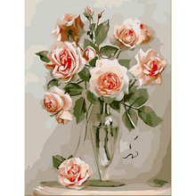 Chinese Rose  Picture Painting By Numbers Oil Painting DIY Digital Canvas Oil Painting Home Decor For Living Room w92