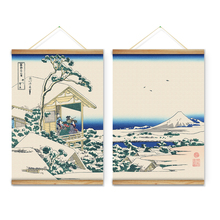 Japanese Style Landscape Snowfall White Snow Decoration Wall Art Pictures hanging Canvas Wooden Scroll Paintings Ready To Hang