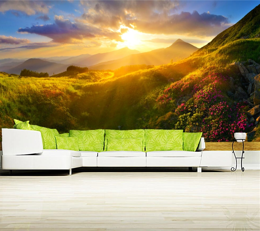 Sunrises and sunsets Mountains Grass light Nature wallpaper,restaurant bar living room sofa TV wall bedroom 3d wallpaper mural<br>