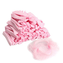 LS4G 100PCS Disposable Hair Shower Cap Non Woven Pleated Anti Dust Hat Set Pink