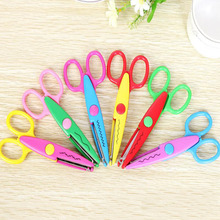 1pcs lace Scissors Metal and Plastic DIY Scrapbook Paper Photo Tools Diary Decoration Safety Scissors 6 Styles Selection YH20(China)