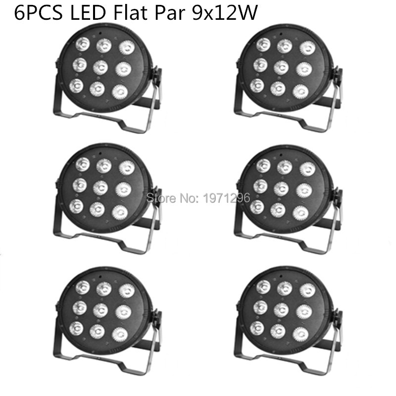 HOT 6pcs/lot 9x 12W RGBW DMX Stage Lights Business Lights LED Flat Par High Power Light with Professional for Party KTV Disco DJ<br>
