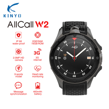 3g smart watch Android 2 г + 16 г памяти 4 ядра ALLCALL W2 Smartwatch сердечного ритма 1,39 ''HD Экран gps водонепроницаемый Смарт наручные часы(China)
