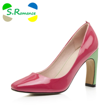 S.Romance Plus Size 32-43 Women Pumps New Fashion Sexy Elegant Square Toe Lady Strange High Heels Woman Shoe Red Green SH515