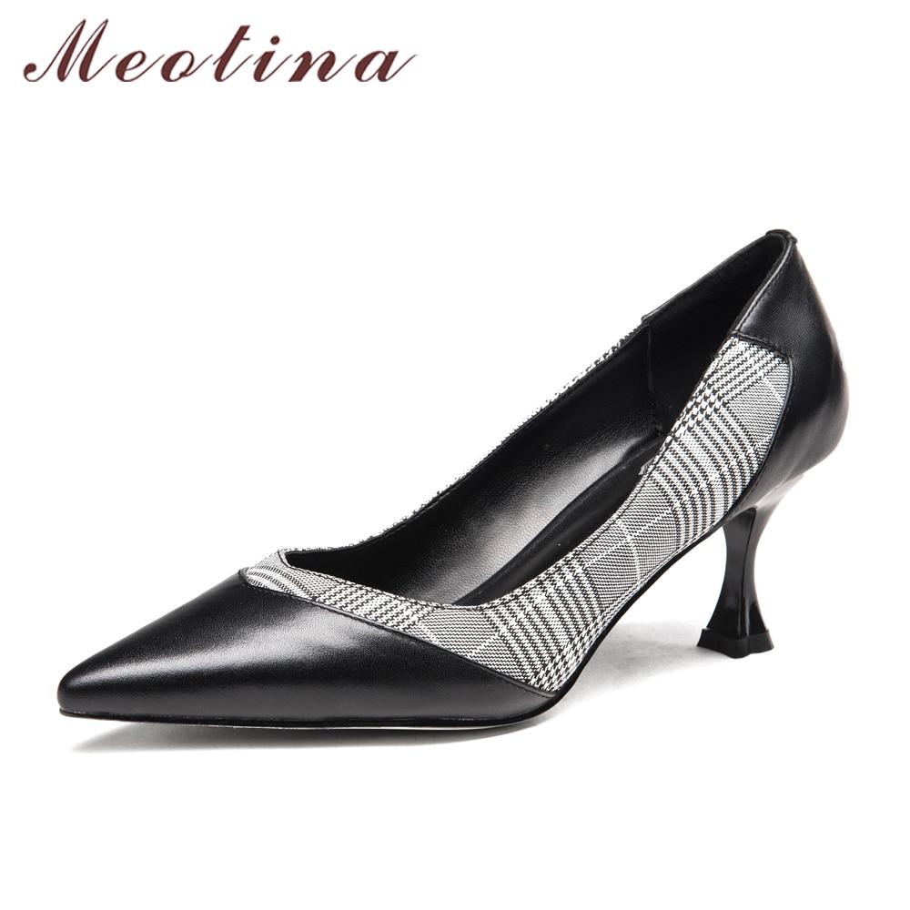 Meotina Women Pumps Genuine Leather Kitten Heel Office Lady Shoes Elegant Lattice Cloth High Heel Plaid Career Leather Shoes<br>