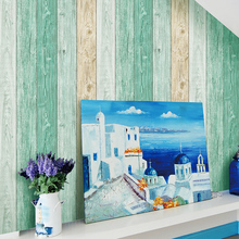 2017 New Mediterranean Blue  Wood Grain Wallpaper For Coffee Shop TV video Wall Living room Bedding Room Wall Paper decoration