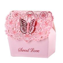 3pcs Wedding Favors Candy Box Laser Cut Hollow Candy Chocolates Bag Baby Shower Birthday Invitations Gifts Bag Butterfly Sweet4(China)