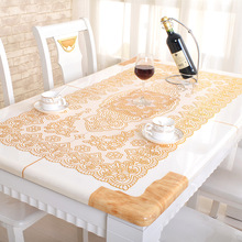 European classical bronzing table cloth washable high temperature anti-hot PVC table cloth(China)