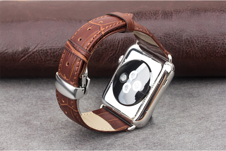 GOOSUU Genuine Calf Watch Strap with Stainless Steel Adapter 38mm42mm for Iwatch leather Apple Watch butterfly buckle Strap Band<br><br>Aliexpress