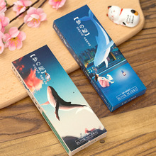 32 Pieces Whale Series Paper Bookmark Card DIY Postcard Message Cards Book Marks Cute Stationery Office and School Supplies