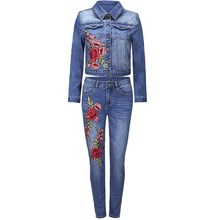 Two Piece Set Floral Embroidery Floral Denim Jackets And Jeans Pants Suit Women Long Sleeve Slim Jean Coats Set(China)