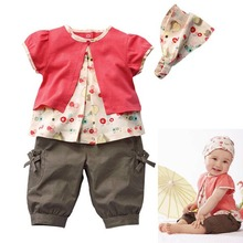 High Quality 0-3 Years 3 Pcs Clothes Kids Baby Girls Fruits Pattern Top+Pants+Hat Set Outfits