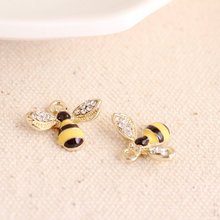 MRHUANG 10pcs Lovely Rhinetone bee Charms Alloy Pendant fit for bracelet DIY Fashion Jewelry Accessories(China)
