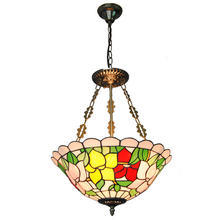 3 Lights Baroque Style Tiffany Stained Glass Inverted Pendant Light Retro Flowers Pattern Restaurant Living Room Lightings PL801(China)