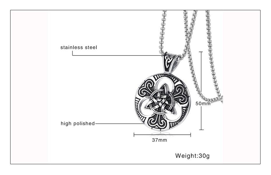Meaeguet Vintage Gothic Cross Necklace Triskele Trinity Scottish Irish Triangle Knot Antique Pendant Necklace (5)