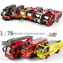 2014 Hot sale!Super cool!1: 78 alloy fire truck pull back car toy model,sound and light car toy,best birthday gift,free shipping(China)
