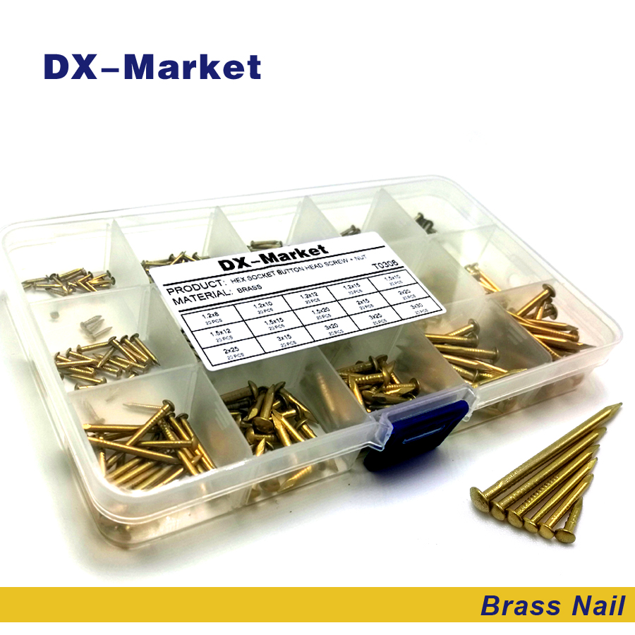 brass nail kit , 750pcs 15 size ,1.2mm 1.5mm 2mm 3mm anti rust brass nails , DIY hardware accessories nails , T0305<br>