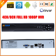 Motion Detection ONVIF CCTV NVR for IP Camera Full 1080P H.264 HDMI Output 8CH (4CH optional) Surveillance System NVR 4Channel(China)