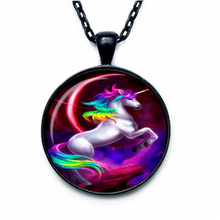 Fashion 27MM Round Unicorn Pendant Unicorn Necklace Unicorn Jewelry Fantasy Style Art Gift HZ1(China)