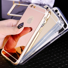 Luxury Acrylic Plating Mirror Electroplating Soft Clear TPU Phone Cases For iphone 4 4S 5 5S SE 6 6S 7 Plus Back Cover Bags