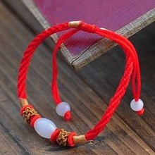 Fashion Red Silk Stone Bead Weave Bracelets Women Gift Simple Shambhala Charm Wholesale Tibetan Jewelery