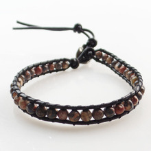 (Min. Order $10) Free Shipping 1Strand 8mm Leopard Skin Stone Round Beads Wrap Leather Adjustable Bracelet 7.5 inch SHX1425(China)