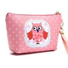 3D Owl Printing Toiletry Cosmetic Bag Waterproof PU Makeup Cosmetic Organizer Ladies Handbag Wash Bag Coin Purse Storage Pouch