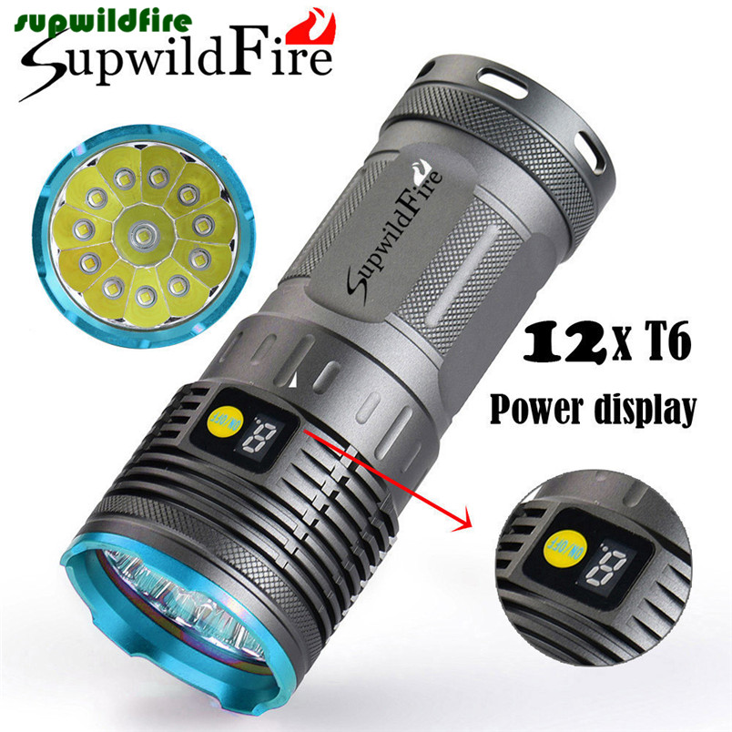 Supwildfire 35000LM 10/12 x XM-L T6 LED Power Mode Digital Display Hunting FlashlightRechargable Flashlight Free Shipping #NO19<br>