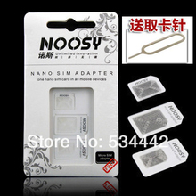 Free Shipping (40pcs)10Set/Lot 4 In 1 Nano SIM Adapter For Iphone 5 Iphone 4 4S + SIM Card Needle eject pin key Retail Box