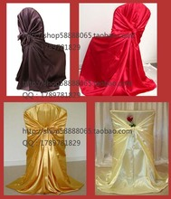 Dearest 50pcs satin pillowcase chair cover self tie hotel chair cover for wedding banquet black golden(China)