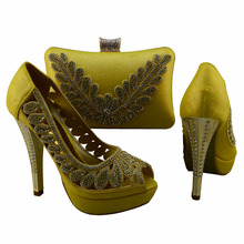 Italian shoe and matching bag for african wedding with stones nice hand bag 1308-L71 african shoe and bag set in yellow!!!