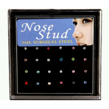 24pcs Piercing Nose Ring Fashion Body Jewelry Nose Stud Stainless Surgical Steel Nose Piercings Crystal(China)