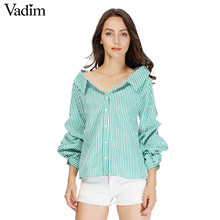 Vadim women elegant striped cotton pleated shirts lantern sleeve turn down collar blouse female casual brand tops blusas LT1938(China)