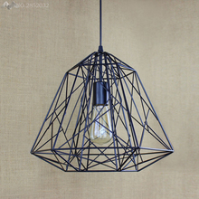 Iron Net Vintage Edison Pendant Lights Lamp Industrial Loft Wrought Diamond Shape Bird Cage lampshade Hanging Lighting Fixtures