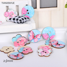 24 mm 50 pcs Flower Wood Sewing Button Scrapbooking Random color Two Holes Pink Butterfly Buttons,DIY Clothing Accessories(China)