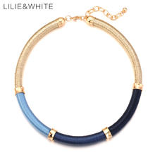 LILIE&WHITE Three Colors Silk Thread Wrapped Necklace For Girls Gypsy Statement Choker Necklace For Women Trendy Jewelry Gift HB(China)