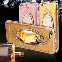 Luxury Rhinestone Diamond Mirror TPU Case for Iphone 8 7 6 6S SE 5S 5 Transparent Soft Silicone Cover For Iphone X 8 7 6 6S Plus(China)