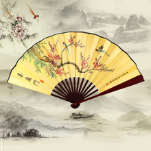 Designer 33cm Folding Fan Chinese Style Bamboo Cloth Riverside Map Summer Women Girl Dancing Fan Hand Fan(China)