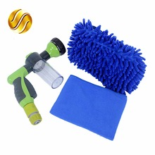 SALBEITECH Car High Pressure Foam Water Gun + Connector + Car Wash Gloves+ Car Cleaning Washing Cloth(China)