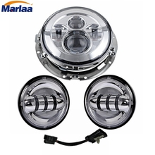 "7"" Inch Harley Daymaker LED Headlight+ 2 x 4 1/2"" Fog Light Passing Lamps With Adapter Ring for Harley Motorcycle"