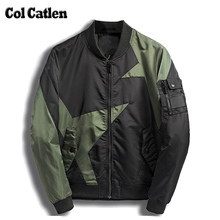 New Brand Autumn Jacket Men Fashion Casual Stand Collar Star Patchwork Baseball Pilot Men's Jackets Green Homme Overcoats Male(China)