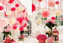 15cm Tissue Paper Pom Poms Paeonia suffruticosa Flower Balls Wedding Bridal Chamber Decoration 10 pcs/lot Free Shipping