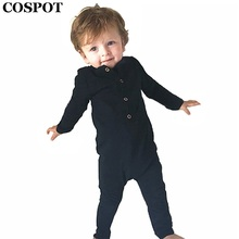 COSPOT Baby Boys Rompers Newborn Cotton Long Sleeve Jumpsuit Boy Autumn Spring Plain Black Gray Jumper 2017 New Arrival 30C(China)