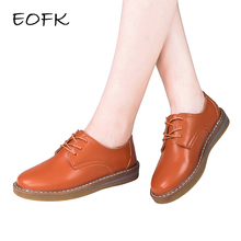 EOFK Brand Spring Autumn Women Soft Comfortable Shoes Woman Leather Flats Lace Up Footwear Female Flat Derby Shoes For Women(China)